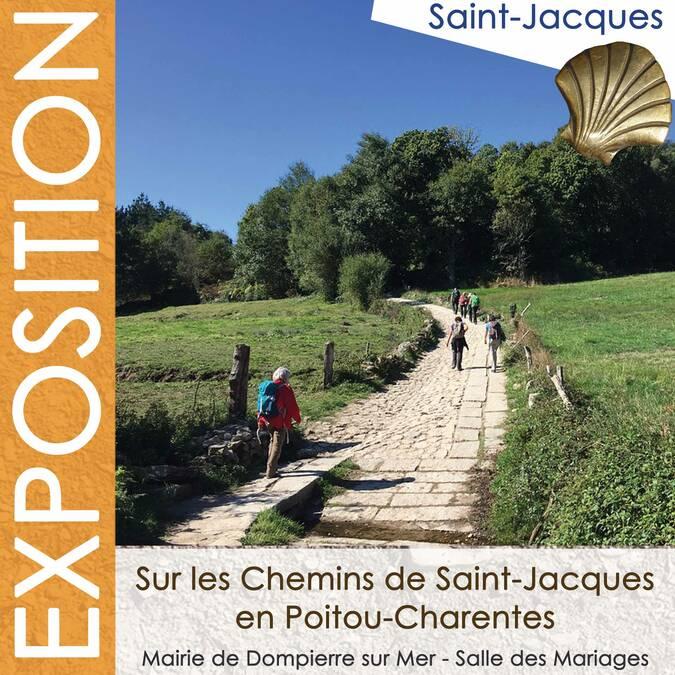 """Affiche de l'exposition : """"sur les Chemin de Saint-Jacques..."""""""